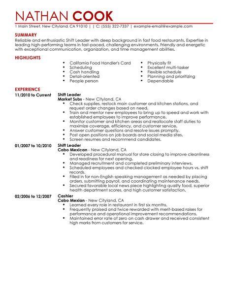 Shift Manager Duties Resume UML1V. Best Restaurant Bar Shift Leader .