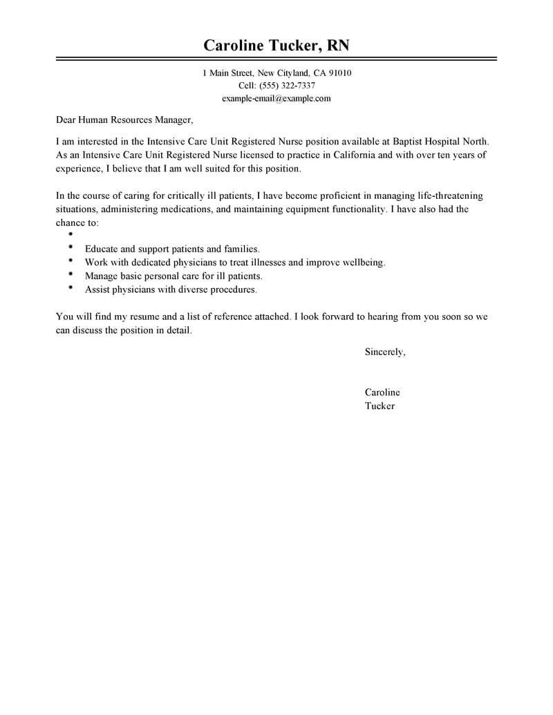Captivating Create My Cover Letter. Best Intensive Care Unit Registered Nurse ...