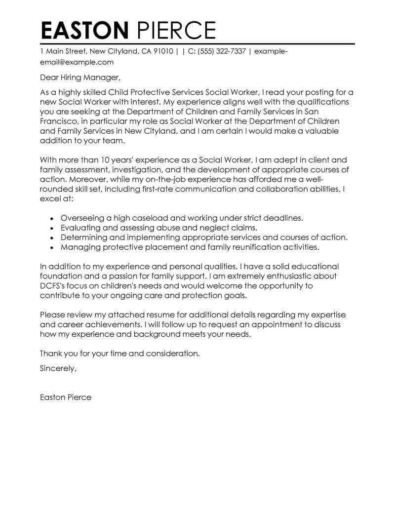Social Services Job Seeking Create My Cover Letter