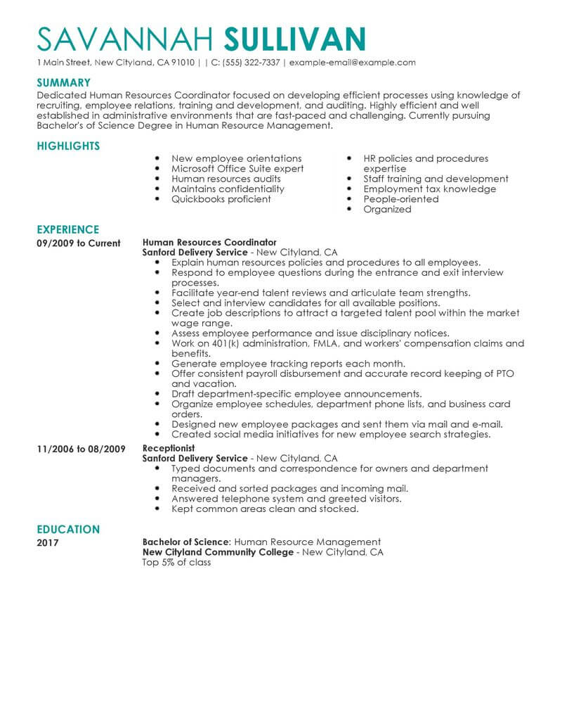 hr manager resume summary