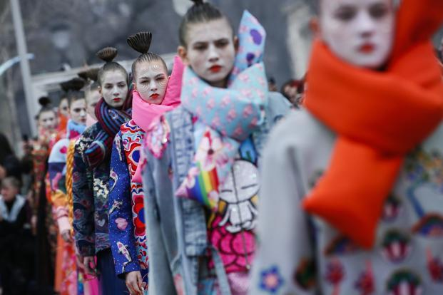 Paris Fashion Week  Tuzki is Manish Arora s new showstopper   Livemint Models wearing creations for Manish Arora s ready to wear fall winter 2018