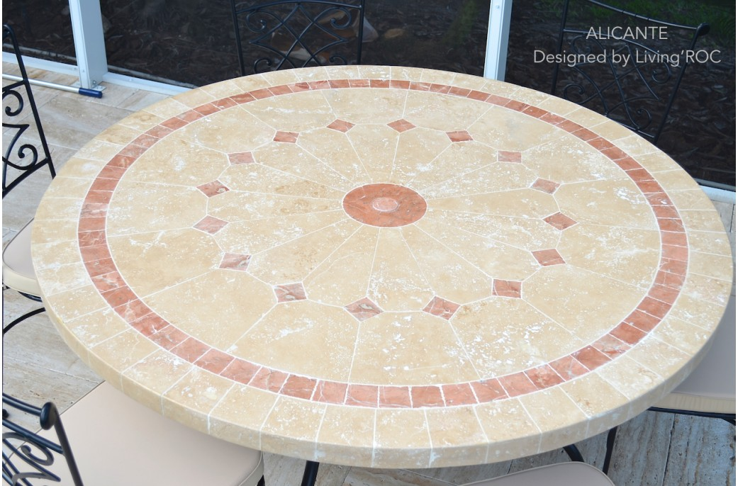 125 160cm Outdoor Mosaic Round Table Natural Stone Top