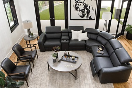 Living Room Ideas   Decor   Living Spaces modern Living Room with Kristen Slate Grey 6 Piece Power Reclining Sectional
