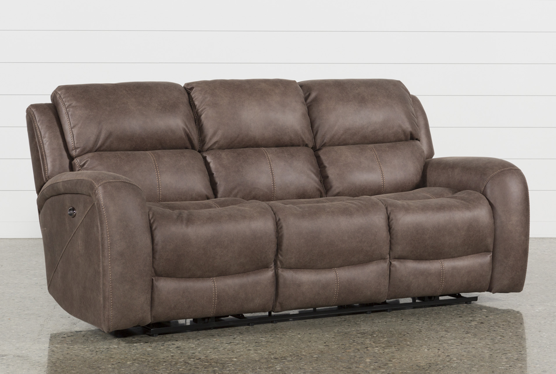 Deegan Bark Power Reclining Sofa Living Spaces