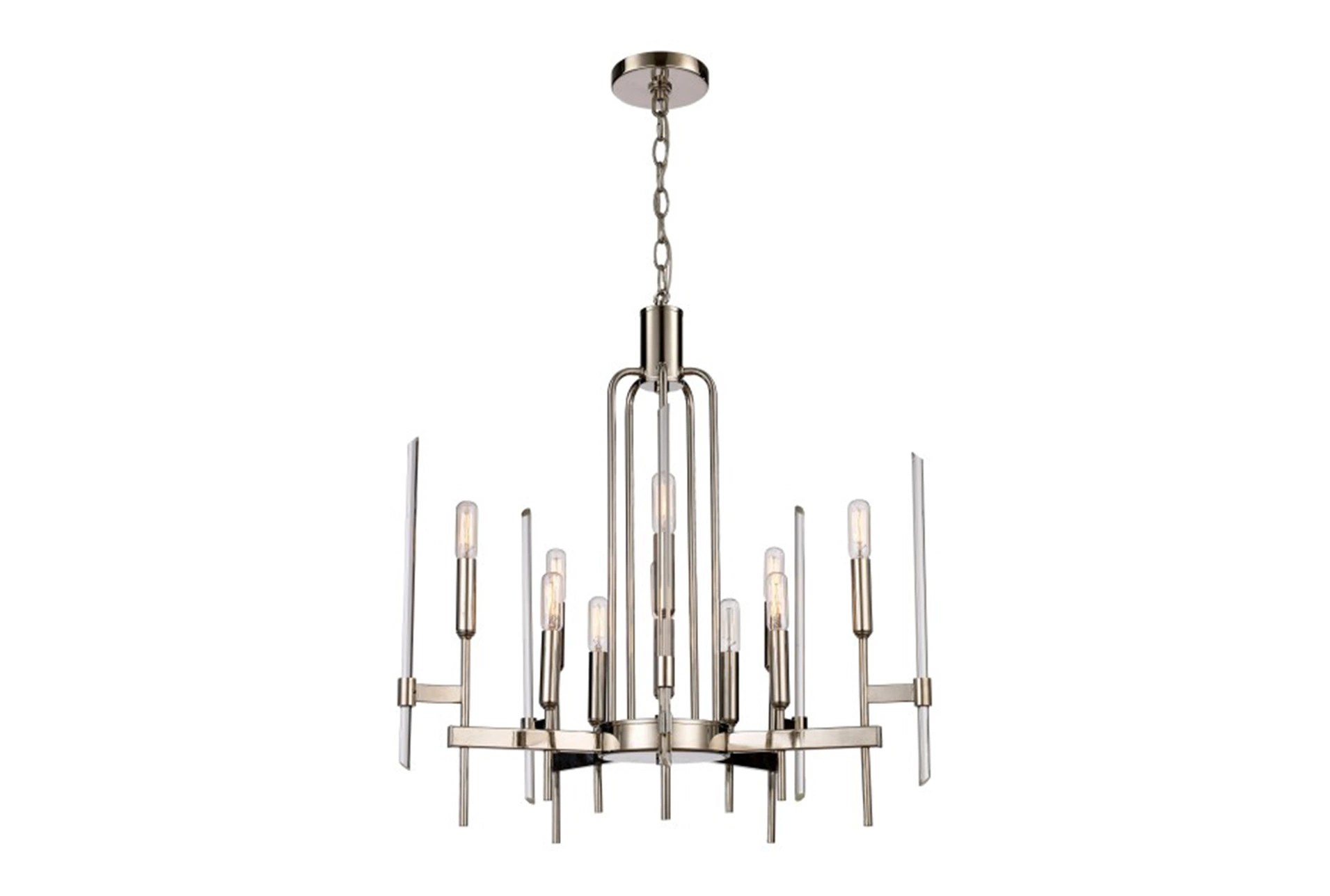Chandeliers to Fit Your Home Decor   Living Spaces Chandelier  Jalen Nickel 10 Light