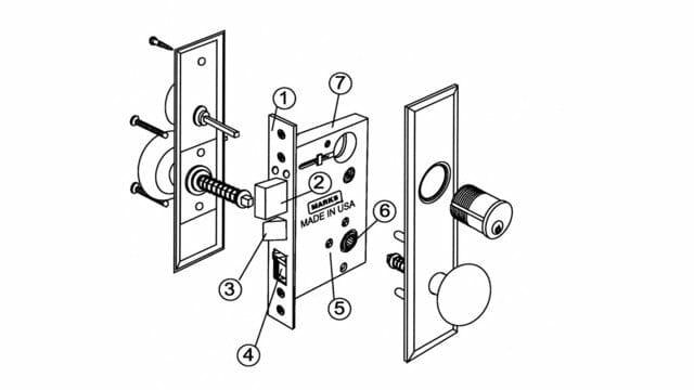 Parts Lock Diagram Mortise Yale