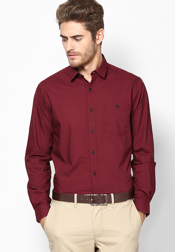 Mens Dress Shirt Black Contrast Red