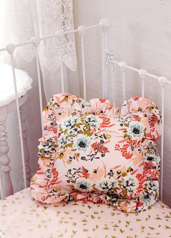 Blush Pink Floral Bumperless Baby Bedding Set Lottie Da Baby