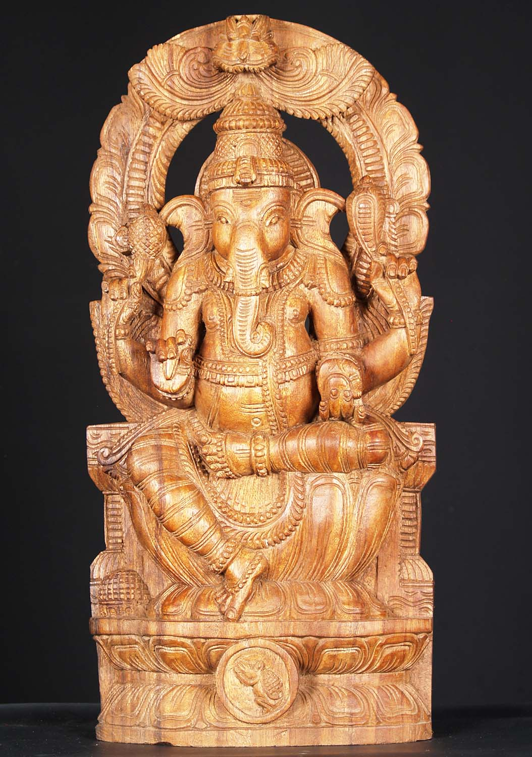Sold Wooden Ganesh Carving With Arch 24 Quot 76w1hw Hindu