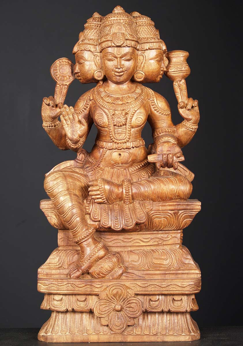 Sold Wooden Seated Brahma Statue 24 Quot 76w1er Hindu Gods