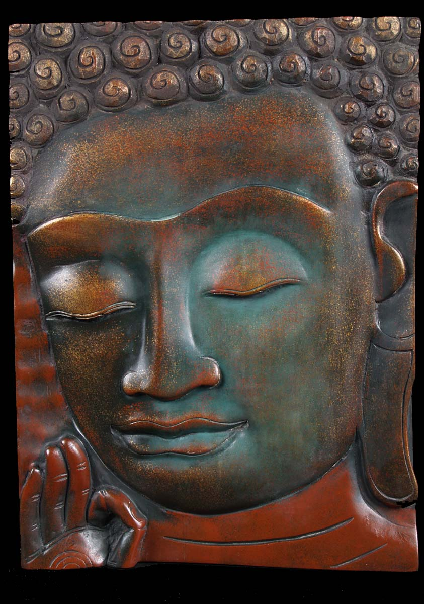Sold Buddha Face Wooden Panel 21 Quot 3c20 Hindu Gods