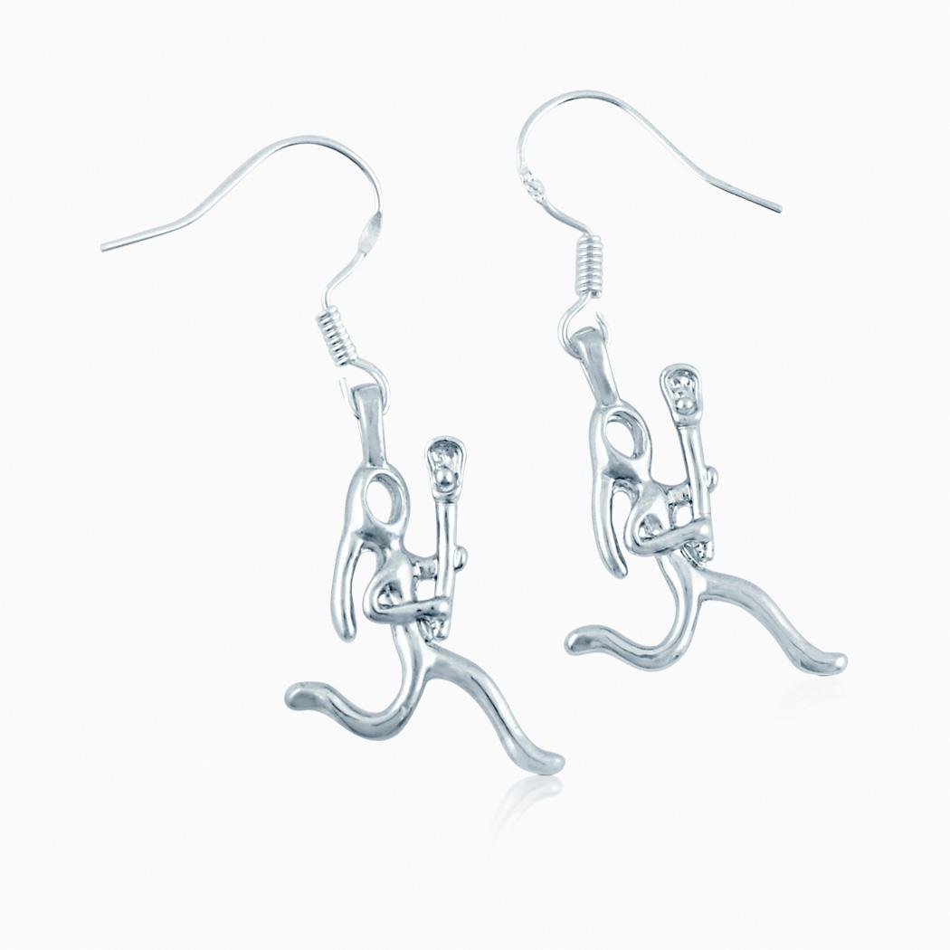 Silver Lacrosse Girl Stick Figure Earrings