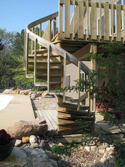 Outdoor Spiral Stairs By Judd Lumberjocks Com Woodworking | Diy Outdoor Spiral Staircase | Small Space | Before And After | Backyard | Half Circle | Metal