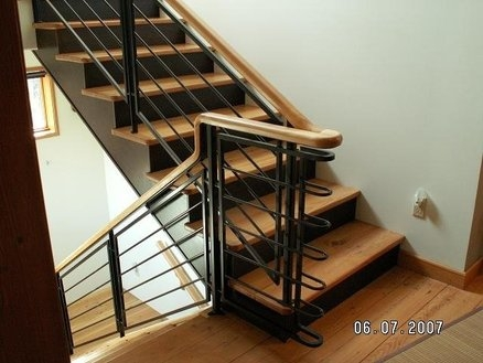 Wood And Steel Handrail By Alphaal Lumberjocks Com | Wood And Metal Handrail | Interior | Iron Railing | Architectural Modern Wood Stair | Stainless Steel | Traditional