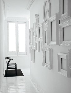 White Decorating Ideas  White Picture Frames for Bright Wall Decor Interior decorating in white colors with white vintage frames on white walls  calls the attention to beautiful designs  unique texture and interesting  shapes