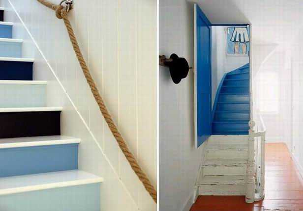Wooden Stairs With Painted Stripes Updating Interior