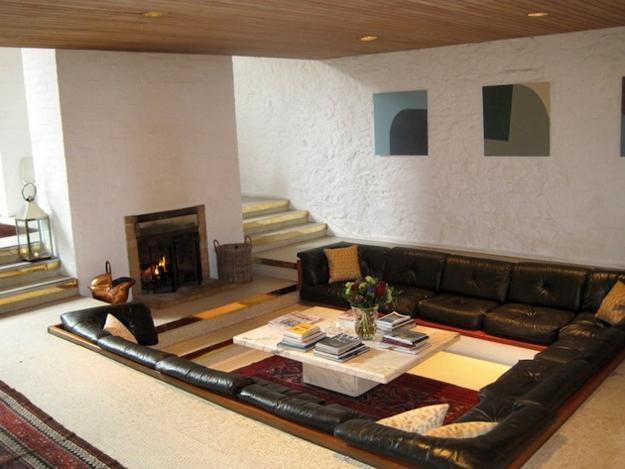 Cozy Living Room Designs With Fireplaces Defined By Sunken