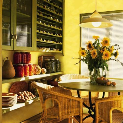 25 Ideas for Dining Room Decorating in Yelow and Green Colors Dining room decorating with window curtains  furniture upholstery fabrics  and cushions in yellow and green colors