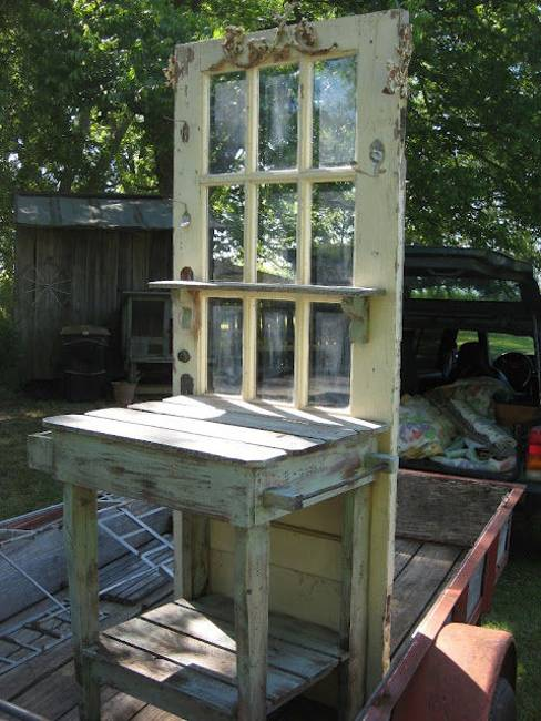 Recycling Old Wood Doors And Windows For Outdoor Home