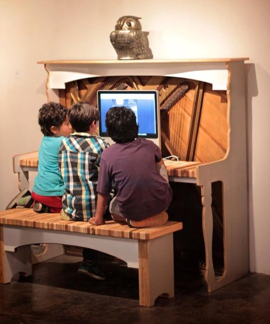 Recycling Piano For Computer Desk Creative Vintage