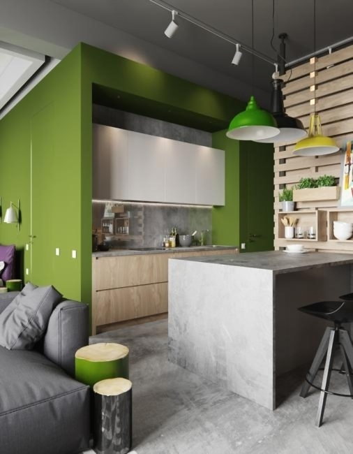 Modern Apartment Ideas in Industrial Style Mixing Concrete ...