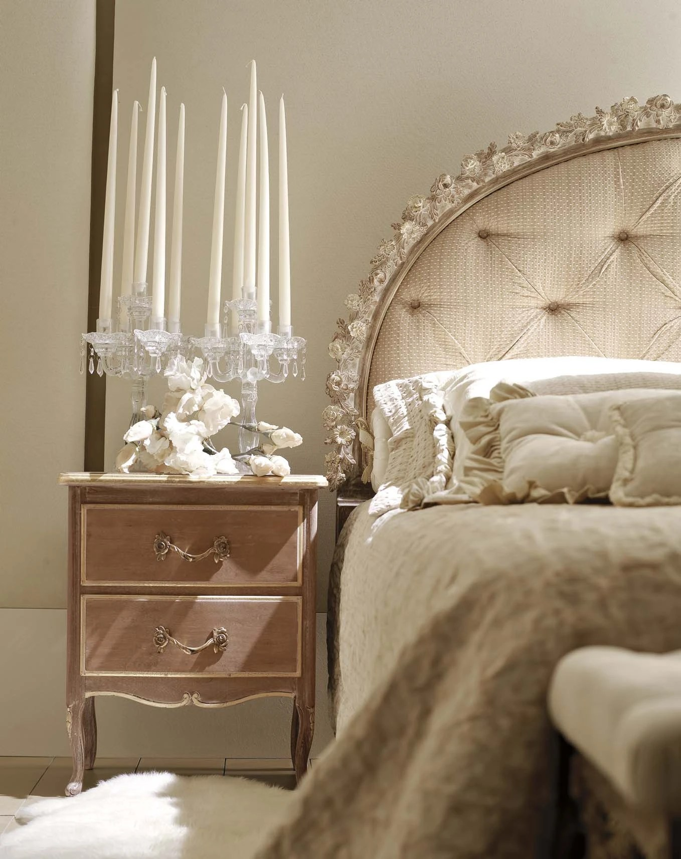 Double Bed With Upholstered Headboard Is Semi Circular In