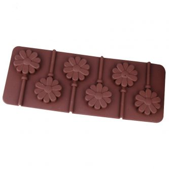 6 Cavities Flower Lollipop Silicone Mould Tray LMH015