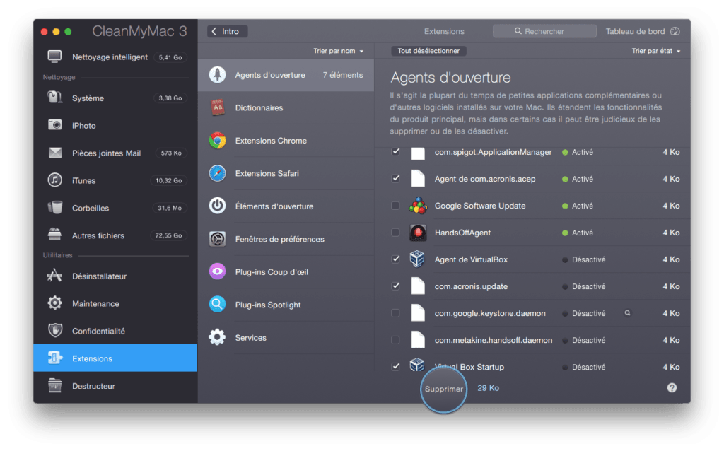 Optimiser El Capitan extensions widgets