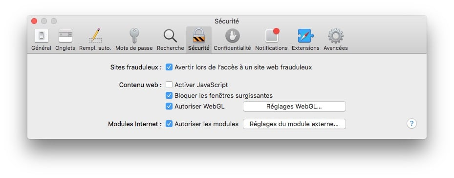 proteger son mac safari