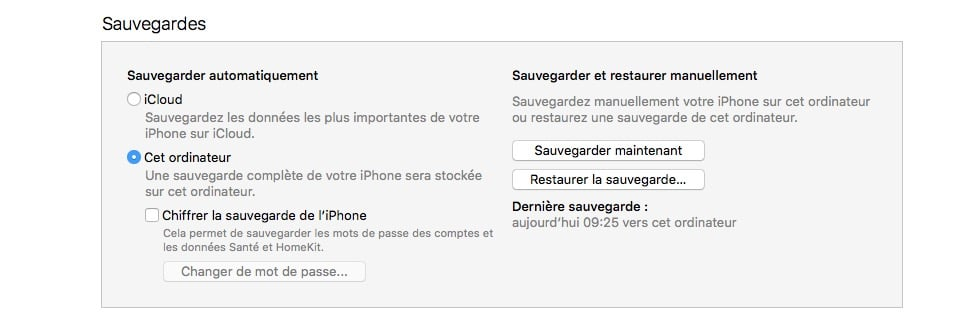 downgrade ios 10 sauvegarde