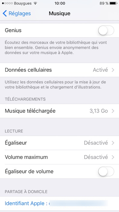 egaliseur iphone 7 6 5 activer