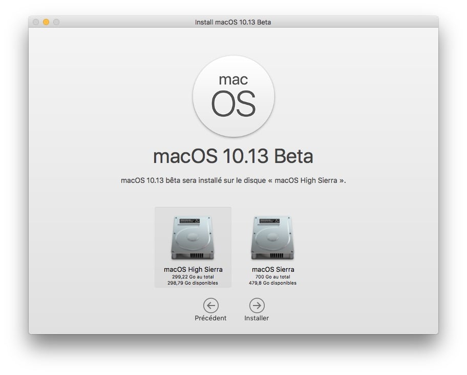 Installer macOS High Sierra en dual boot choisir sa partition
