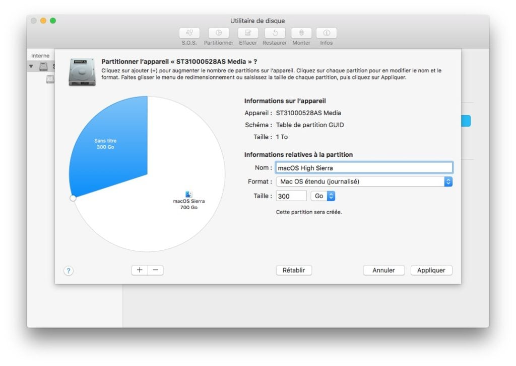 Installer macOS High Sierra en dual boot creer partition