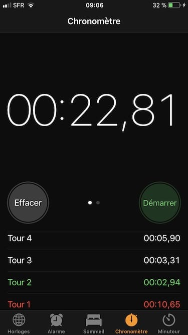utiliser le chronometre de son iPhone digital numerique