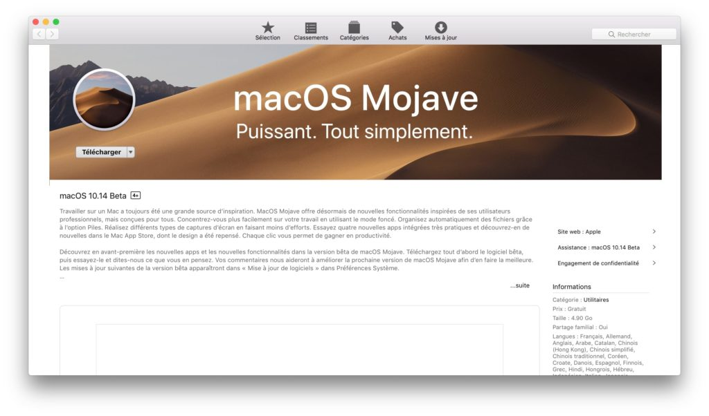 Installer macOS Mojave 10.14 telecharger