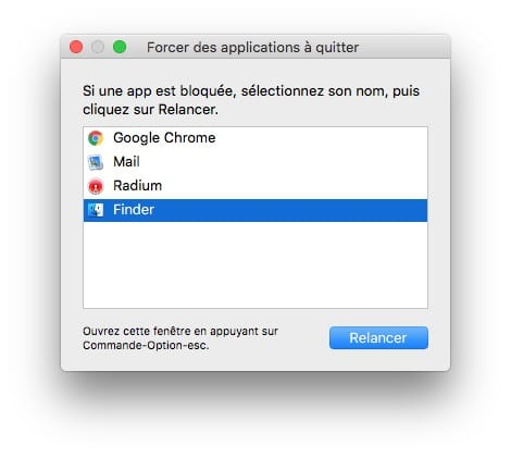Reinitialiser le Finder du Mac relancer finder