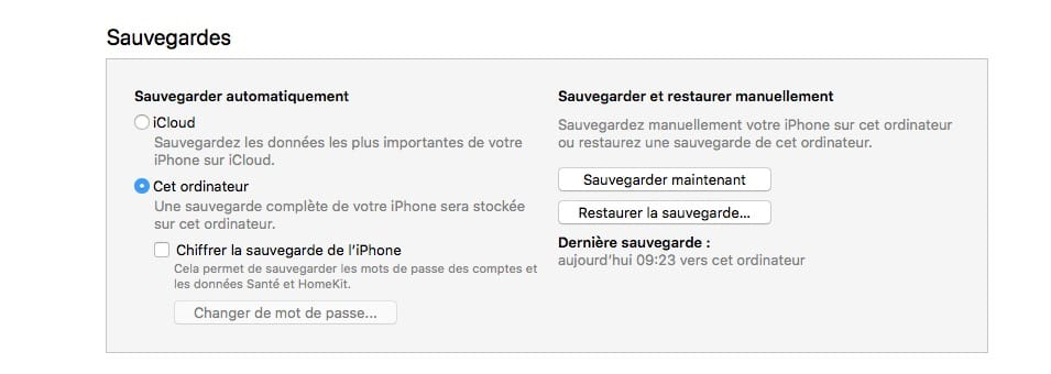 Downgrade iOS 12 vers iOS 11 sauvegarde itunes