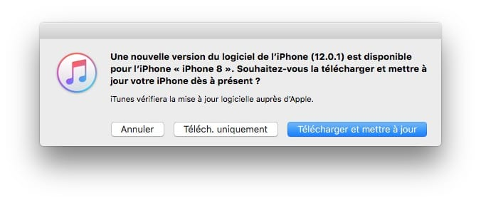 iOS 12.0.1 installer avec itunes