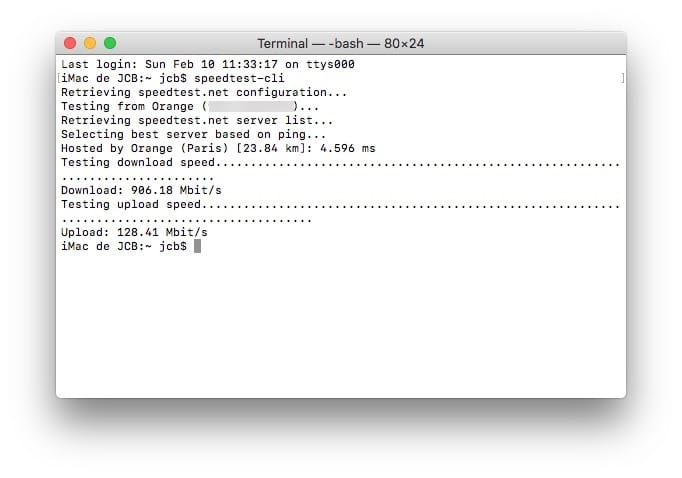 Configurer son Mac pour la fibre optique 1 Gb speedtest-cli