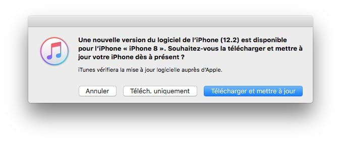 nouvelle version du logiciel de l'iphone ios 12.2