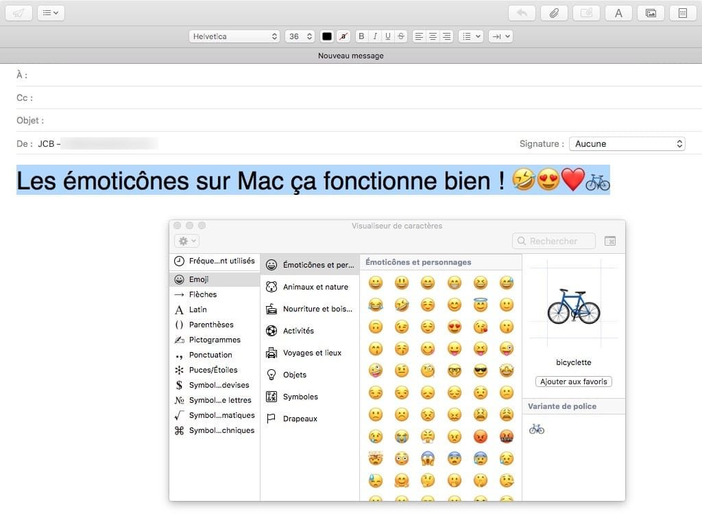 emoticone sur mac ctrl cmd spacebar