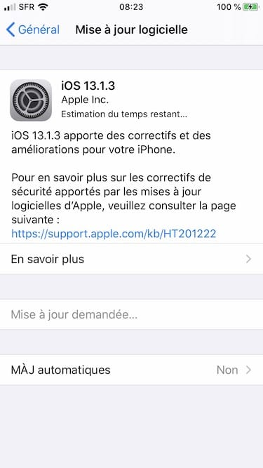 iOS 13.1.3 correctif iphone ipod touch