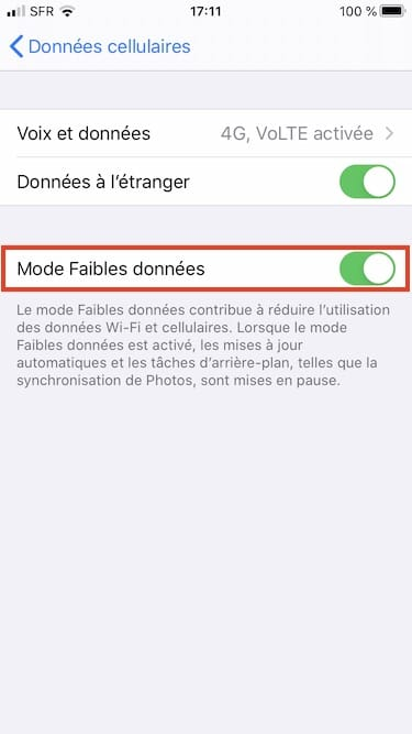 Mode Faibles donnees 4G iPhone