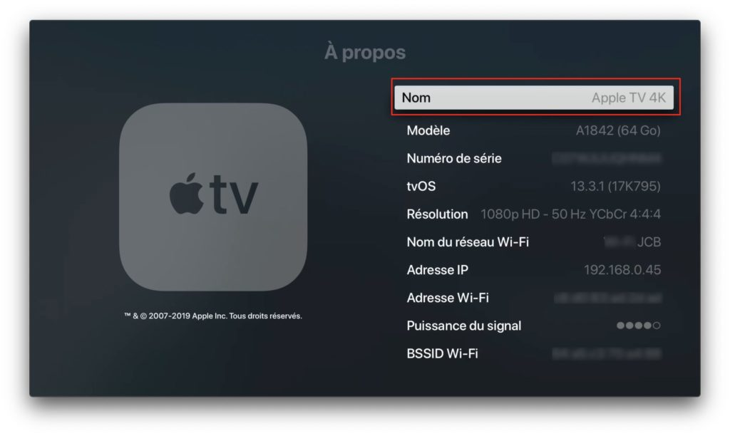 changer nom Apple TV 4k