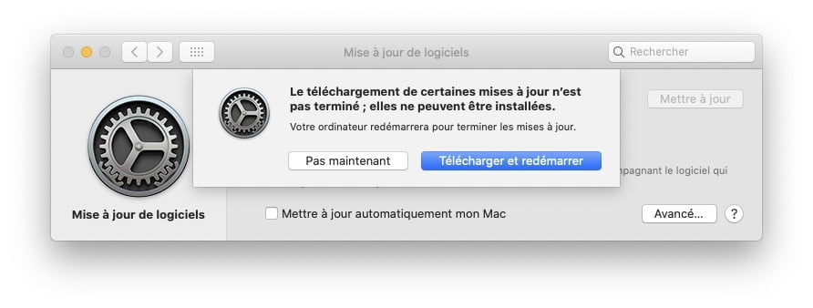 Catalina 10.15.6 telecharger et redemarrer