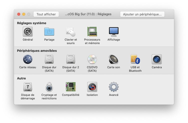 reglages machine virtuelle macos big sur vmware