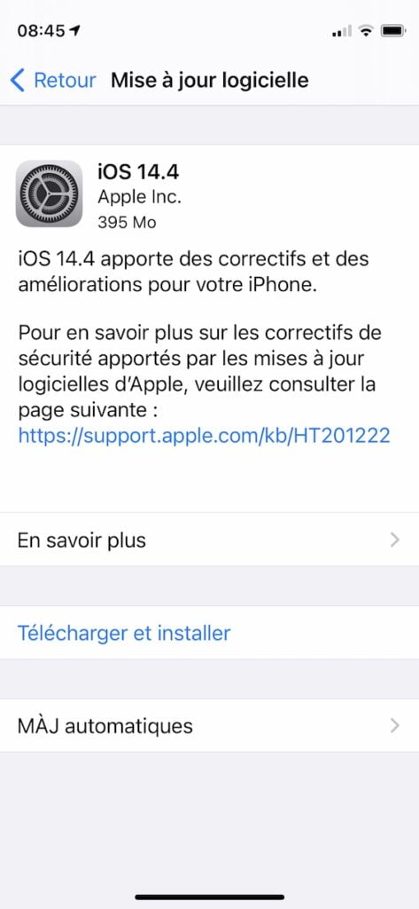 iOS 14.4 pour iPhone