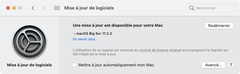 macOS Big Sur 11.2.3 redemarrer