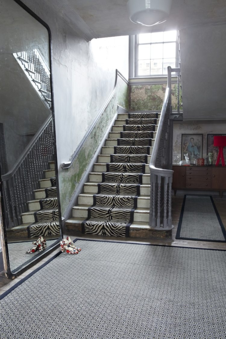 Stair Carpet Mad About The House   Zebra Print Stair Carpet   Staircase Remodel   Ideas   Stair Treads   Leopard Print   Carpet Runner