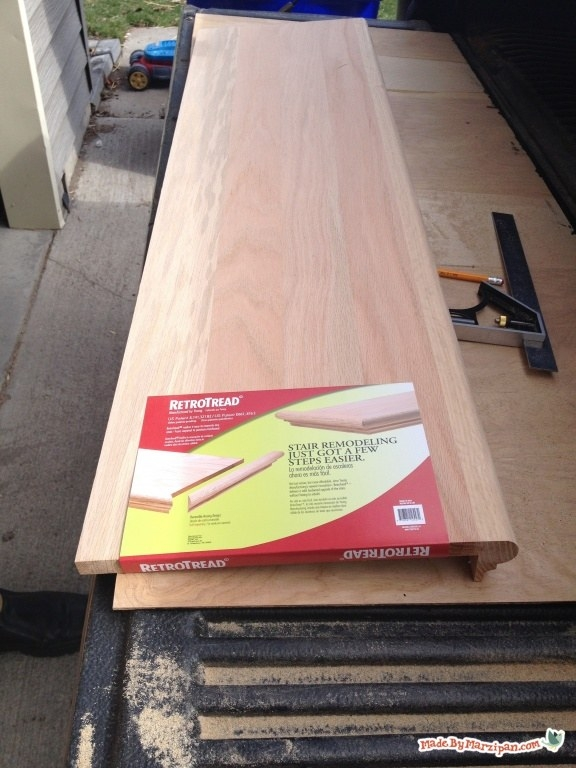 Installing Stair Tread Caps Made By Marzipan | Solid Red Oak Stair Treads | Stair Parts | Slate Tile | Wood | Staircase Makeover | Stair Railing